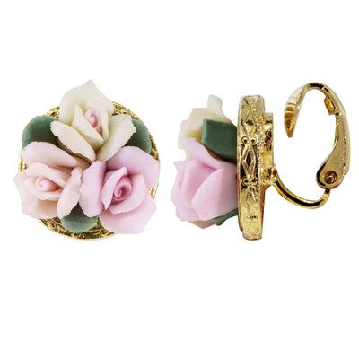 Gold Tone 3 Flower Pink & White Porcelain Flower Round Button Clip On Earrings