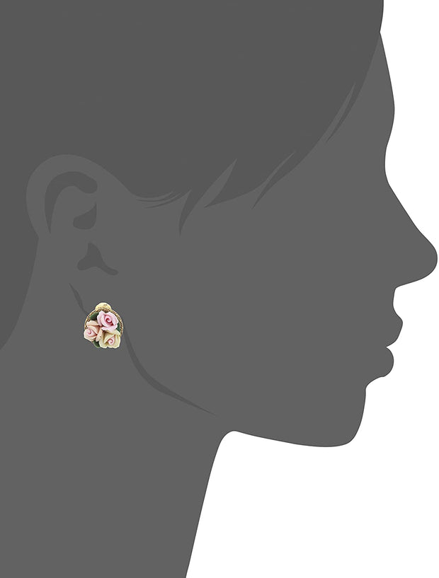 1928 Jewelry Gold Tone 3 Flower Pink & White Porcelain Flower Round Button Clip On Earrings Silhouette