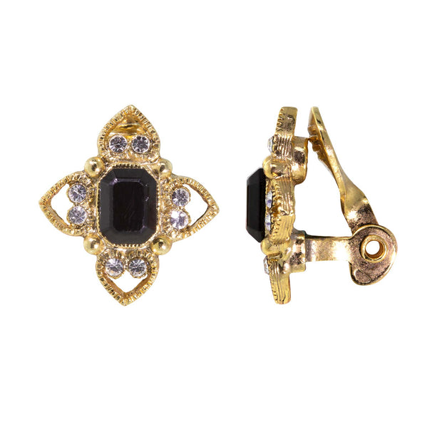 Gold Tone Crystal Rectangle Floral Clip On Earrings Black