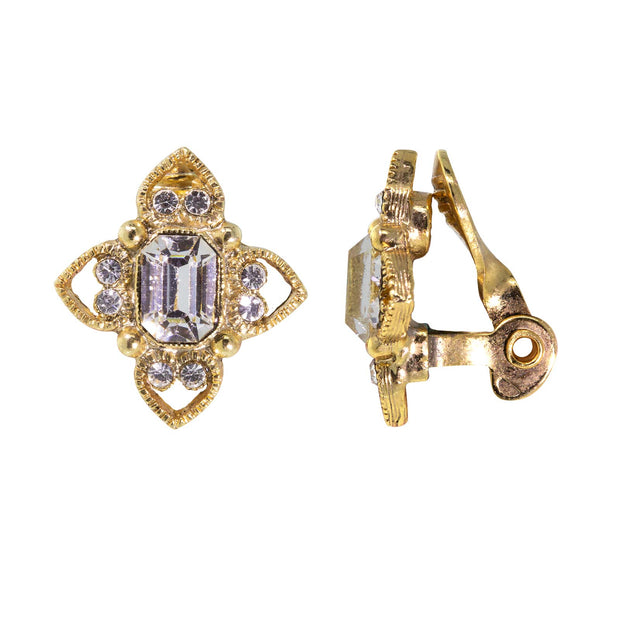 Gold Tone Crystal Rectangle Floral Clip On Earrings