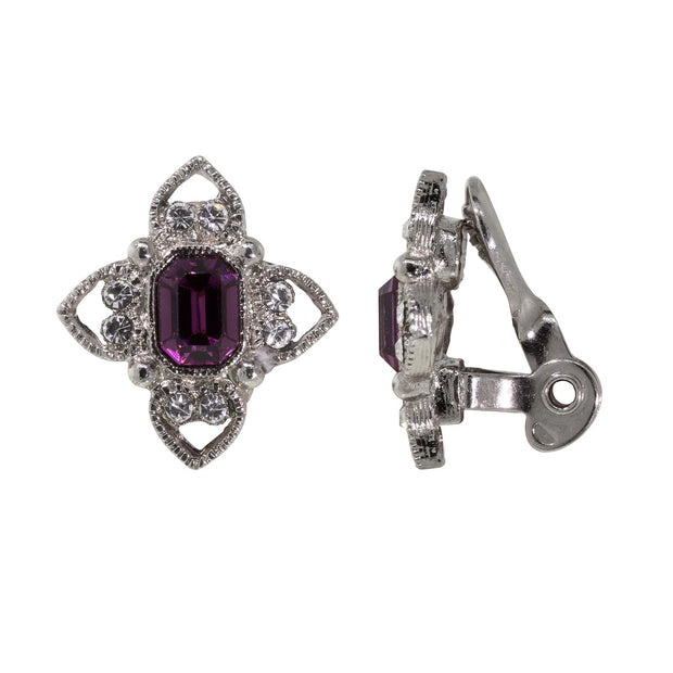 Silver Tone Rectangle Crystal Floral Clip On Earrings Purple
