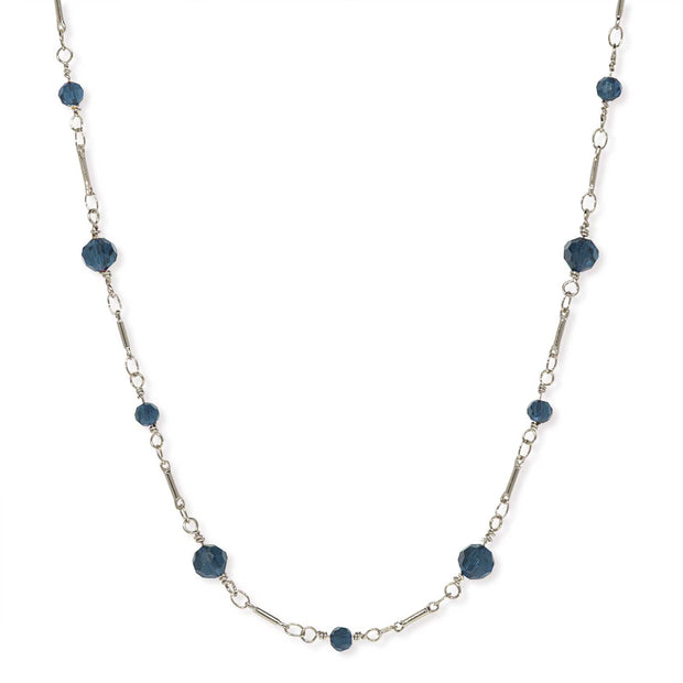 1928 Jewelry Silver Tone Dark Blue Beaded Chain Necklace 16 In