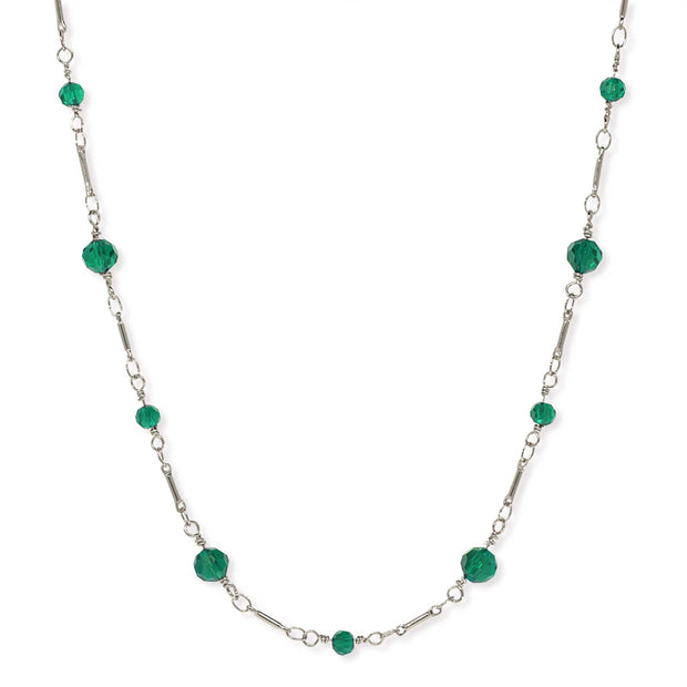 Silver Tone Beaded Chain Necklace 16 Inch Green