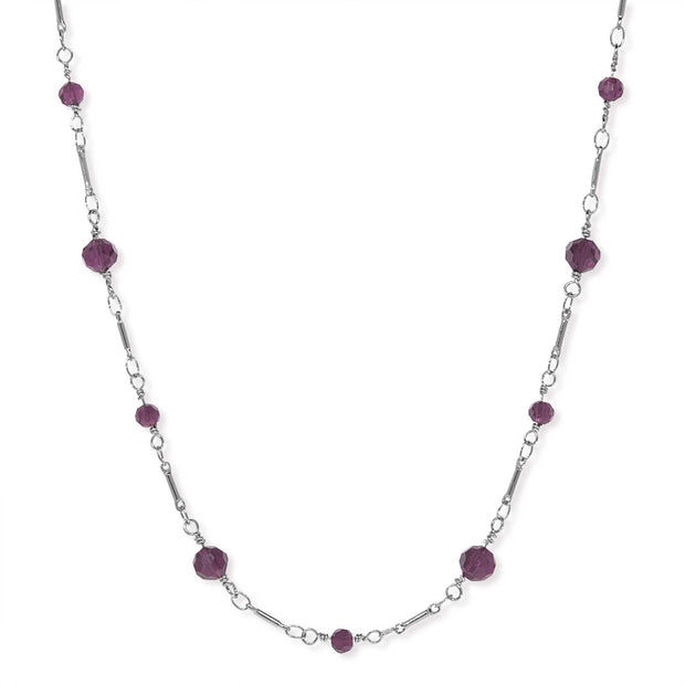 Silver Tone Beaded Chain Necklace 16 Inch Purple