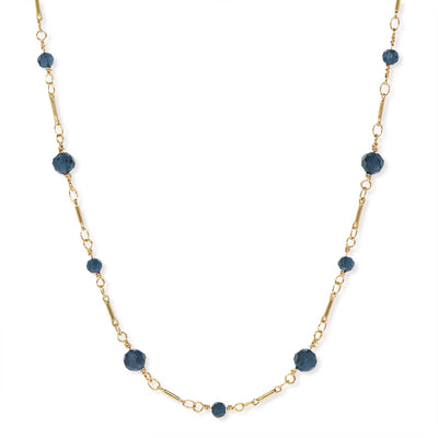 1928 Jewelry Gold Tone Dark Blue Beaded Chain Necklace 16 In
