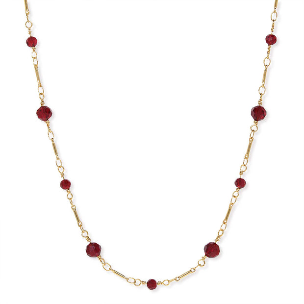 Gold Tone Beaded Chain Necklace 16 Inch Red