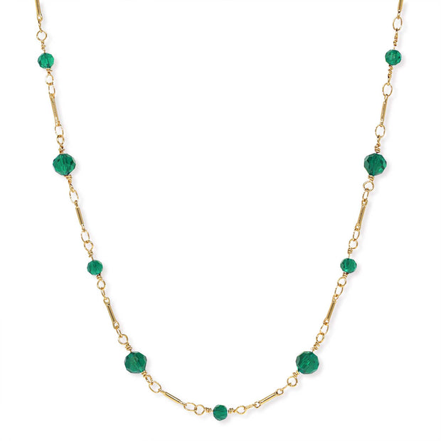 Gold Tone Beaded Chain Necklace 16 Inch Green