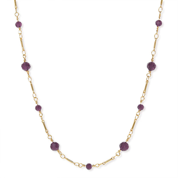 Gold Tone Beaded Chain Necklace 16 Inch Purple