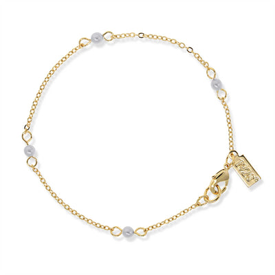 Costume Pearl Chain Bracelet 7 Inch