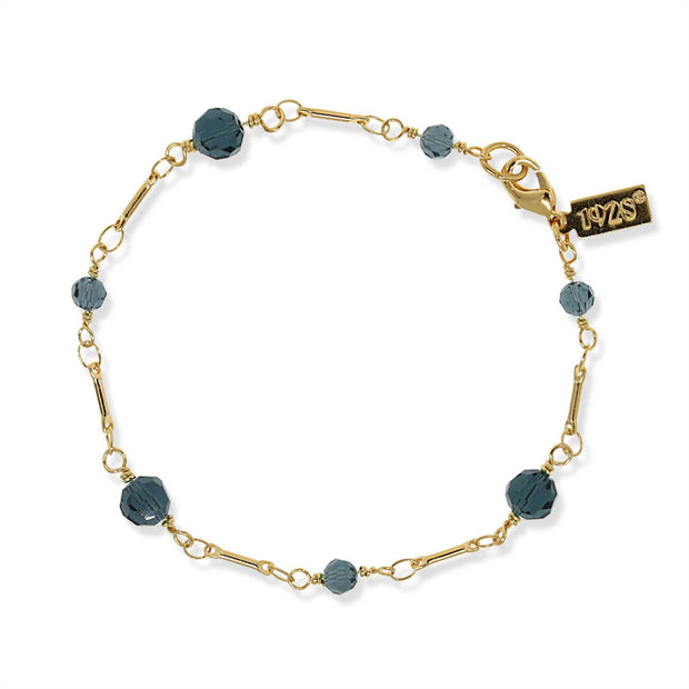 Gold Tone Dark Blue Beaded Chain Bracelet