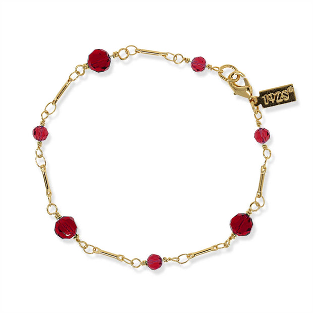 Gold Tone Red Beaded Chain Bracelet