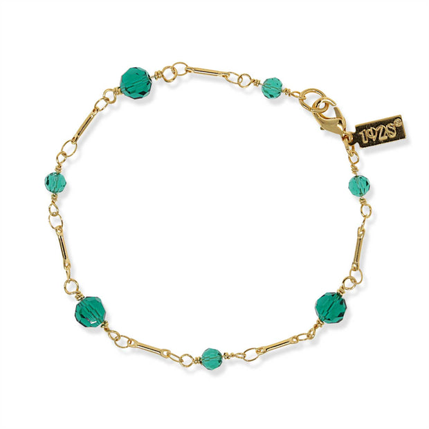 Gold Tone Green Beaded Chain Bracelet