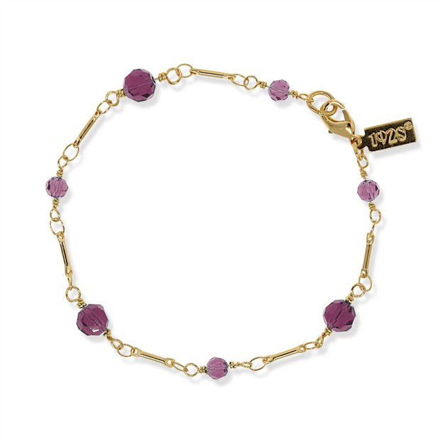 Gold Tone Purple Beaded Chain Bracelet