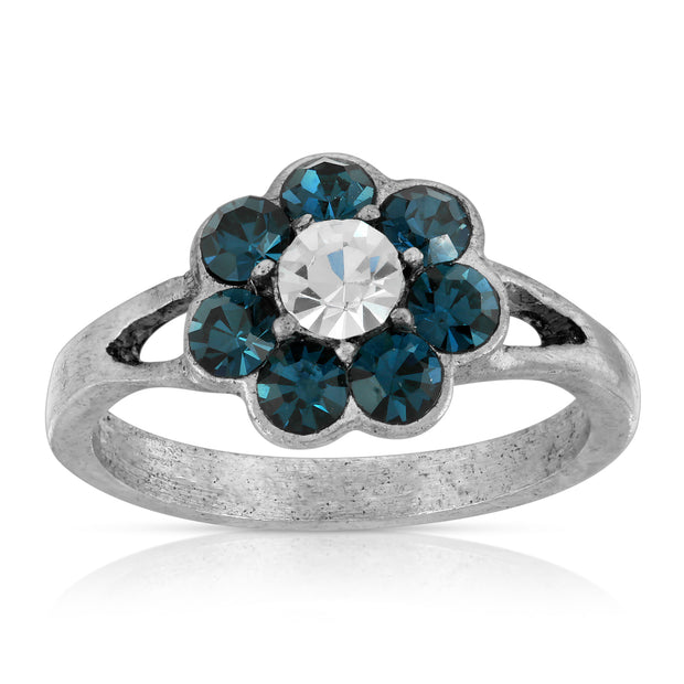 Pewter Clear and Dark Blue Crystal Flower Ring Size 7