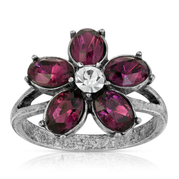 Pewter Purple And Clear Crystal Floral Ring Size 7
