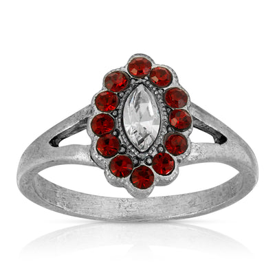Pewter Diamond Shaped Crystal With Red Crystals Ring Size 7