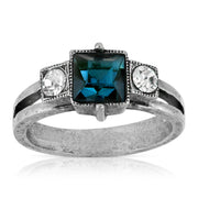 Pewter Dark Blue And Clear Crystal Square Ring Size 7
