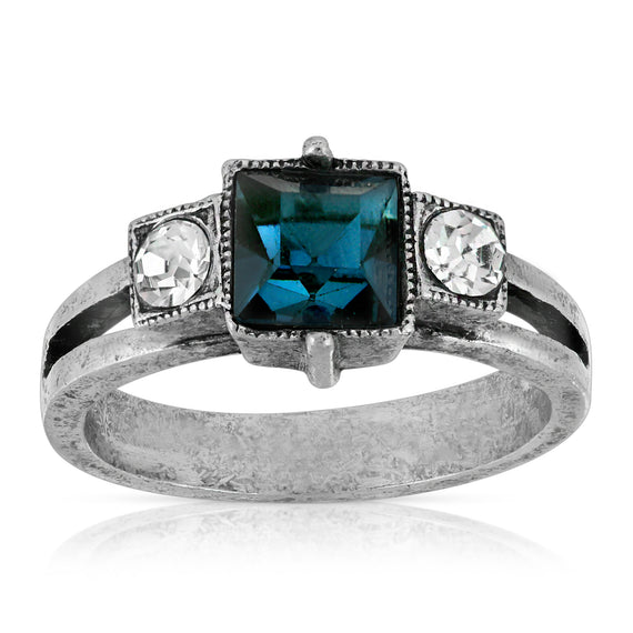 1928 Jewelry Pewter Dark Blue and Clear Crystal Square Ring Size 7