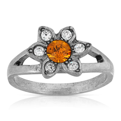 Pewter Yellow And Clear Crystal Floral Ring Size 7