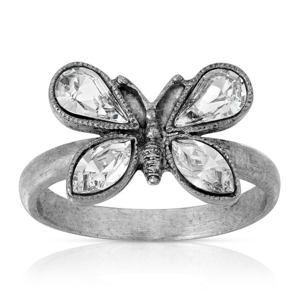 Pewter Crystal Butterfly Ring Size 7