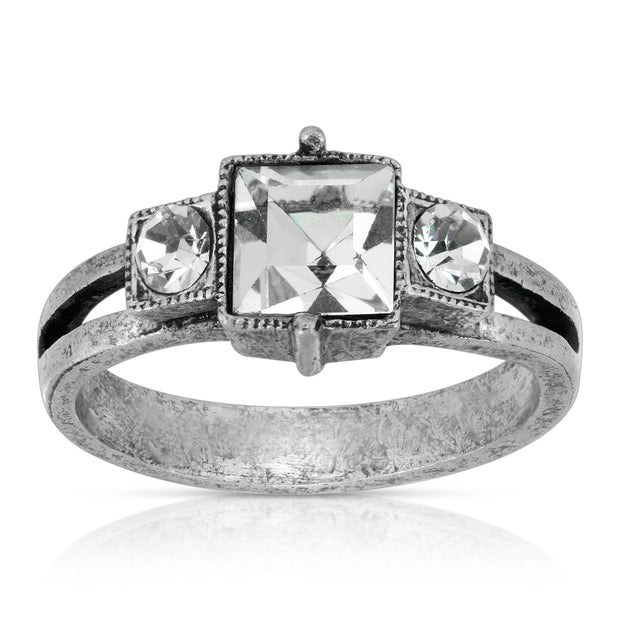 Pewter Square Crystal Ring Size 7