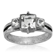 1928 Jewelry Pewter Antique Style Square Crystal Ring Size 7