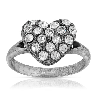 Pewter Crystal Pave Heart Ring Size 7