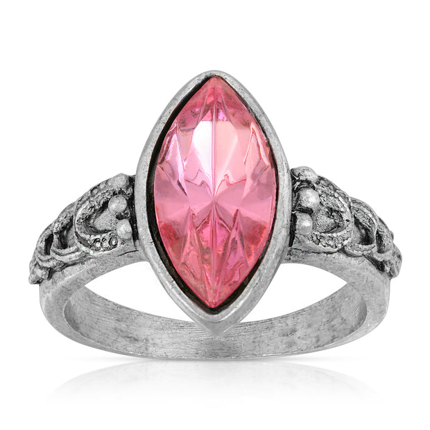 Pewter Diamond Shaped Pink Crystal Ring Size 7