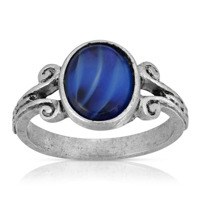 Silver Tone Round Blue Center Size 7 Ring
