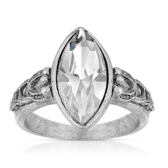 Pewter Diamond Shaped Crystal Ring Size 7