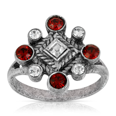 Pewter Red & Crystal Diamond Shaped Ring Size 7