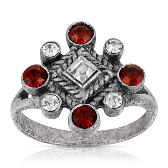 1928 Jewelry Pewter Red & Crystal Diamond Shaped Ring Size 7