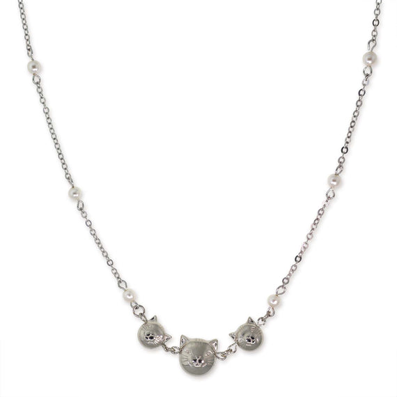 Silver Tone Triple Cat Face with Pearl Chain Necklace 16  Adj.