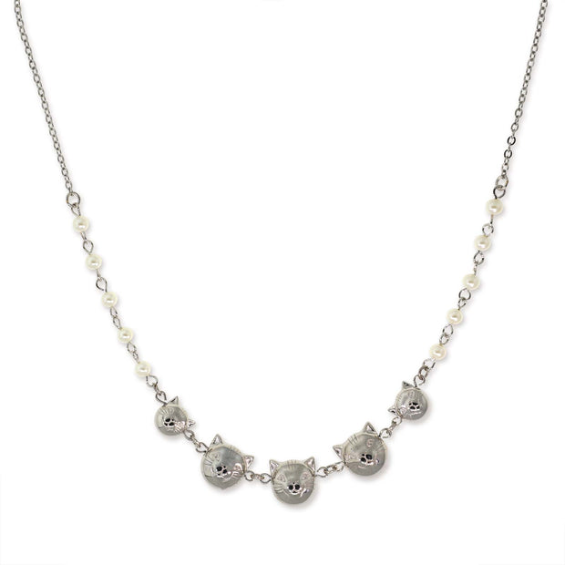"Silver Tone Multi Cat Face With Pearl Chain Necklace 16"" Adj."