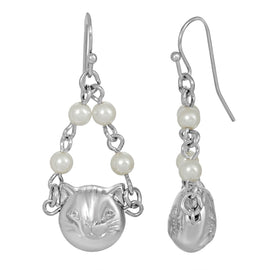 Silver Tone Cat Faux Pearl Drop Earrings