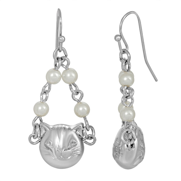 Silver Tone Cat Costume Pearl Drop Earrings