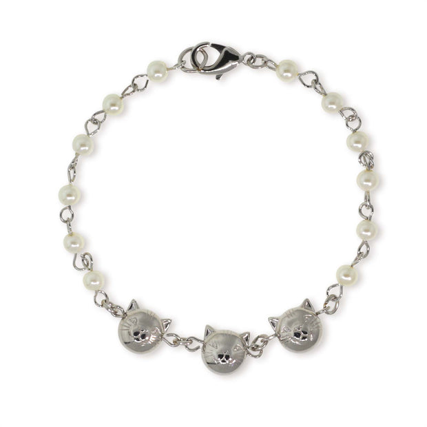 Silver Tone Triple Cat Face with Pearl Chain Bracelet
