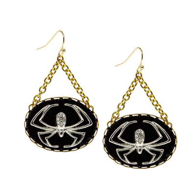 Gold Tone Round Silver Tone Spider With Black Enamel Chain Drop Wire Earring