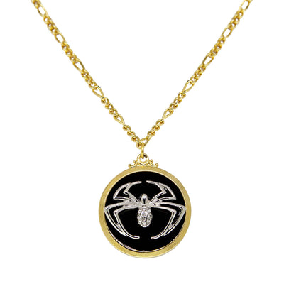 14K Gold Dipped Round Silver Tone Spider With Black Enamel Necklace 18 In