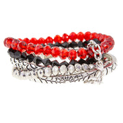 Silver Tone Red Black Grey  Beaded Stretch Multi Braclets