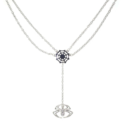 Silver Tone Spider Web With Crystal Spider Drop Necklace 16 Inch