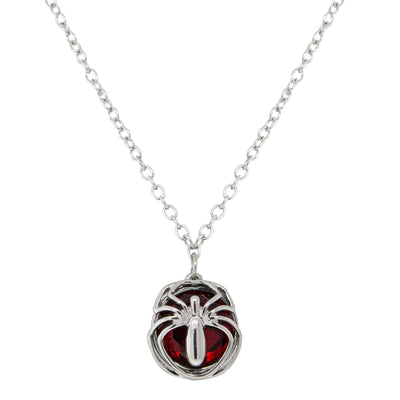 Silver Tone Round Red Stone Spider Necklace 16 - 19 Inch Adjustable