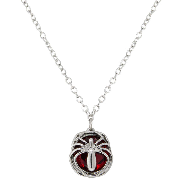 Silver Tone Round Red Stone Spider Necklace 16   19 Inch Adjustable
