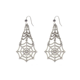 Silver Tone Crystal Spider Web Chain Drop Wire Earrings