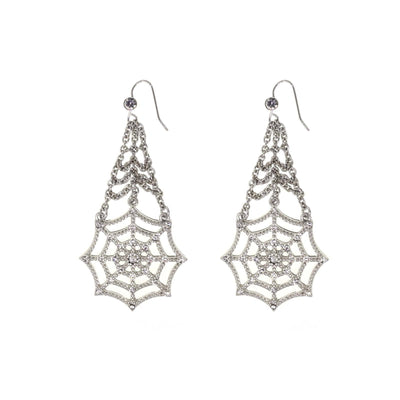 Silver Tone Crystal Spider Web Chain Drop Wire Earring