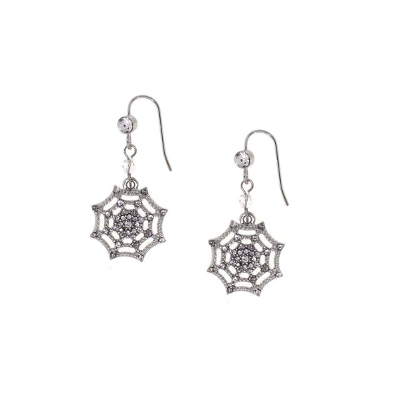 Silver Tone Crystal Spider Web Wire Drop Earring