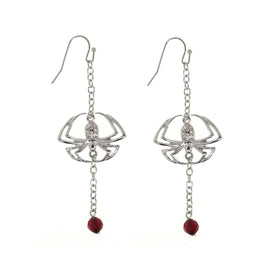 Silver Tone Spider On a Chain Red Bead Drop Wire Earrings
