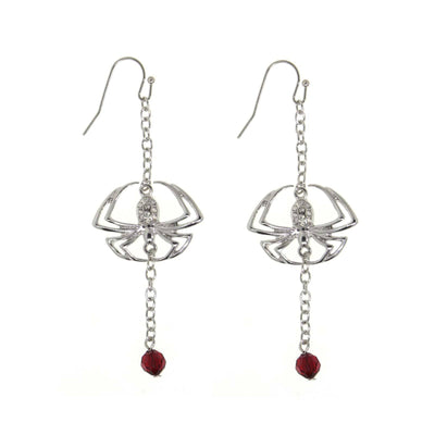 Silver Tone Spider On A Chain Red Bead Drop Wire Earring