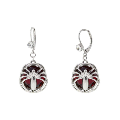 Silver Tone Red Bead Spider Drop Earrings
