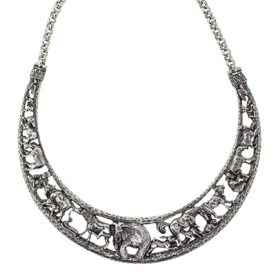 Silver Tone Elephant & Safari Animals  Collar Necklace